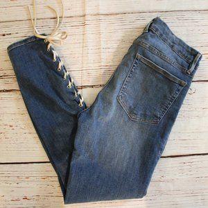 Good American Good Legs Skinny Tie Leg Jeans Sz 10